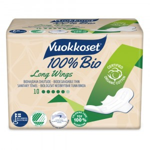 Vuokkoset Maandverband Long Wings 100% bio 10 stuks