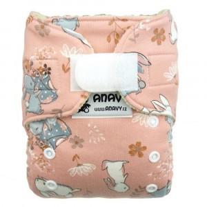 Anavy Wollen Overbroekje Newborn met velcro Konijn Roze (2-6 kg)