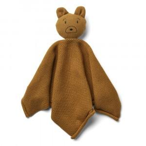 Liewood Milo Knit Knuffeldoekje Mr Bear Golden Caramel