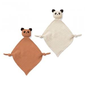 Liewood Yoko Mini Knuffeldoekje (2-pack) Panda Tuscany Rose/Sandy
