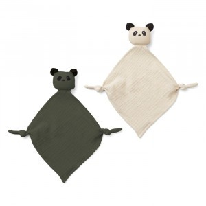 Liewood Yoko Mini Knuffeldoekje (2-pack) Panda Hunter Green/Sandy