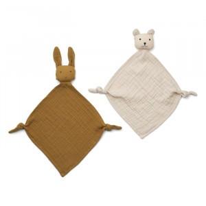 Liewood Yoko Mini Knuffeldoekje (2-pack) Olive Green/Sandy