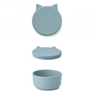 Liewood Cornelius Silicone Snackdoosje Cat Dove Blue