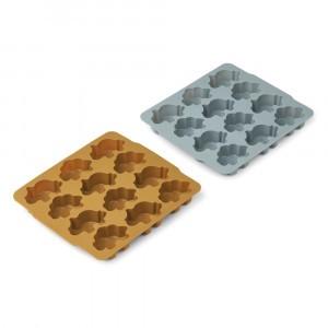 Liewood Sonny Silicone IJsblokjes Vorm (2-pack) Dino Golden Caramel/Blue Fog Mix