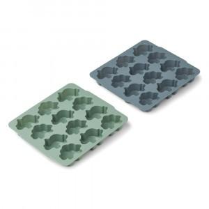 Liewood Sonny Silicone IJsblokjes Vorm (2-pack) Peppermint/Whale Blue Mix