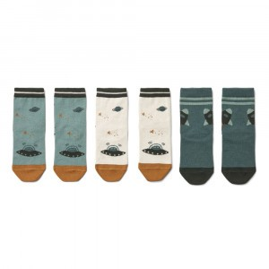 Liewood Silas Sokken (3-pack) Space Blue Mix