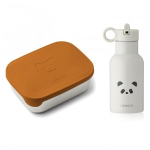 Liewood Lunchbox Set Mr Bear Mustard/Panda Light Grey
