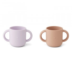 Liewood Gene Silicone Drinkbeker Cat Light Lavender Rose Mix (2 pack)