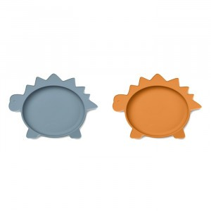 Liewood Olivia Silicone Bord (2-pack) Dino Blue Wave/Mosterd