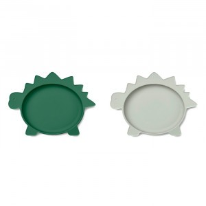 Liewood Olivia Silicone Bord (2-pack) Dino Garden Green/Dove Blue