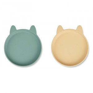Liewood Olivia Silicone Bord (2-pack) Rabbit Peppermint Wheat Yellow Mix