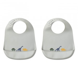 Liewood Silicone Slab Dino Dove Blue Mix (2 pack)