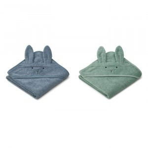 Liewood Albert Badcape Baby (2-pack) Rabbit Blue Mix