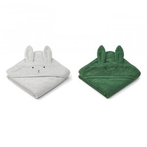 Liewood Albert Badcape Baby (2-pack) Rabbit Dumbo Grey Mix
