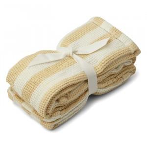 Liewood Leah Tetradoeken (2 pack) Stripe Wheat Yellow/Creme
