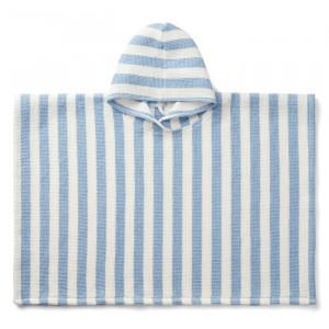 Liewood Paco Poncho Stripe Sky Blue/Creme