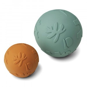 Liewood Thea Baby Bal (2-pack) Dino Mustard Peppermint Mix