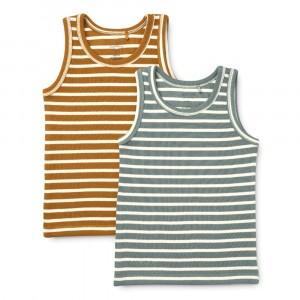 Liewood Faris Hemdje (2-pack) Stripe: Blue Fog Multi Mix