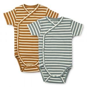 Liewood Hali Overslag Body Korte Mouwen (2-pack) Stripe: Blue Fog Multi Mix