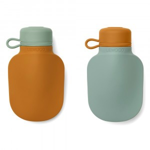 Liewood Silvia Silicone Smoothie Fles (2-pack) Mustard Peppermint Mix
