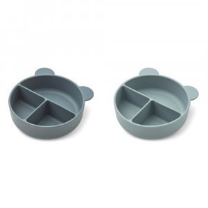 Liewood Connie Silicone Kom Met Onderverdelingen (2-pack) Whale Blue Mix