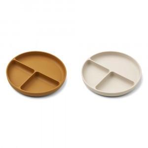 Liewood Harvey Silicone Bord Met Onderverdelingen (2-pack) Golden Caramel/Sandy Mix