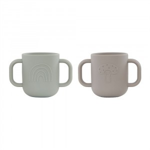 Oyoy Kappu Silicone Drinkbeker (2-pack) Clay/Pale Mint