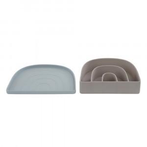 Oyoy Rainbow Silicone Bord & Kom Dusty Blue/Clay