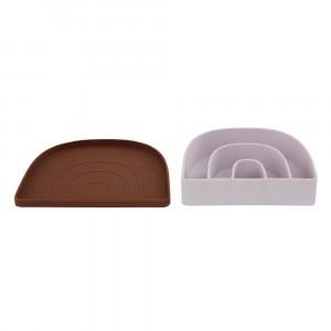 Oyoy Rainbow Silicone Bord & Kom Caramel/Lavender