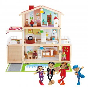 Hape Voordeelpakket Poppenhuis Family Mansion (inclusief accessoires) met Moderne Familie