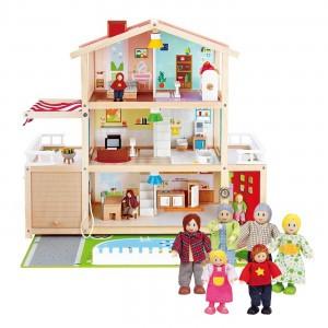 Hape Voordeelpakket Poppenhuis Family Mansion (inclusief accessoires) met Familie