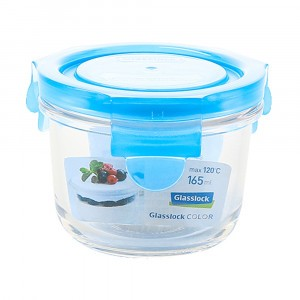 Glasslock Glazen Bewaardoos Rond 165 ml Blauw