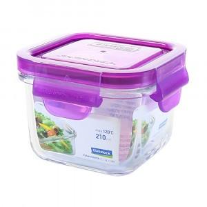Glasslock Glazen Bewaardoos Vierkant 210 ml Lila
