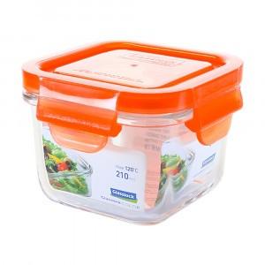 Glasslock Glazen Bewaardoos Vierkant 210 ml Oranje