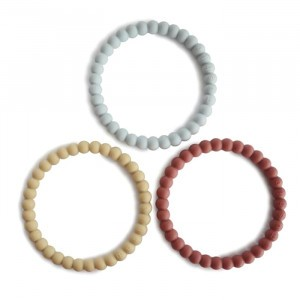 Mushie Silicone Bijtring Bracelet (3-pack) Mellow/Terracotta/Periwinke