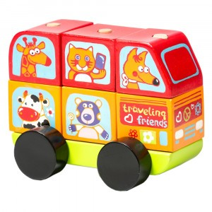 Cubika Houten Blokken Mini-bus Happy Animals