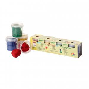 Ökonorm Modelleerklei 4 kleuren: rood, groen, geel blauw (4x150gr)