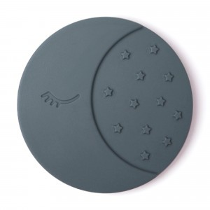 Mushie Silicone Bijtring Moon Iron