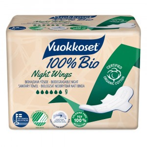 Vuokkoset Maandverband Night Wings 100% bio 9 stuks