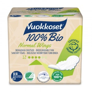 Vuokkoset Maandverband Normal Wings 100% bio 12 stuks
