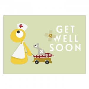 "Olli + Jeujeu Postkaart ""Get Well Soon"""