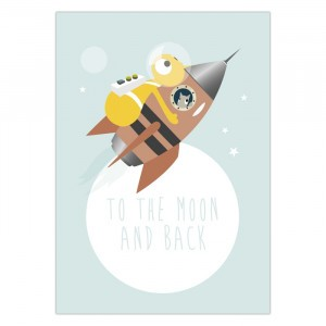 "Olli + Jeujeu Postkaart ""To the moon and back"""