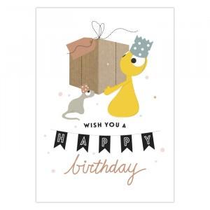 """Olli + Jeujeu Postkaart """"Happy Birthday"""""""