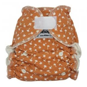 Anavy One Size Luier met Velcro Flowers Orange (4-15 kg)