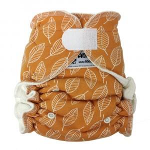 Anavy One Size Luier met Velcro Leaves Orange (4-15 kg)