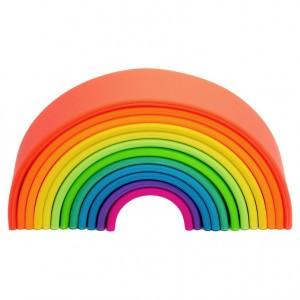 Dëna Silicone Speelgoed Regenboog Neon Groot (Lengte 18 cm)