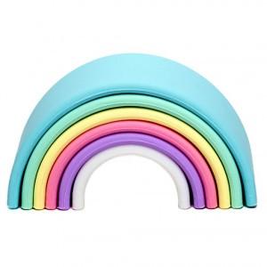 Dëna Silicone Speelgoed Regenboog Pastel Klein (Lengte 10 cm)