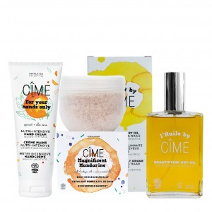"Cîme ""The Wellness Lover"" Multifunctionele Droge Olie, Bodyscrub & Badzout en Handcrème"