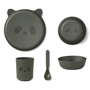 Liewood Bamboe Servies Panda Hunter Green