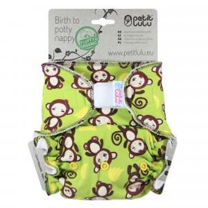 Petit Lulu Luier Katoen Maxi Velcro Aapjes (7-16kg) Fluffy Organic